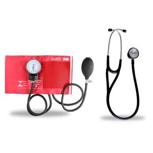 Kit-Esteto-Cardiologico-Preto-com-Aparelho-de-Pressao-Vermelho-Premium