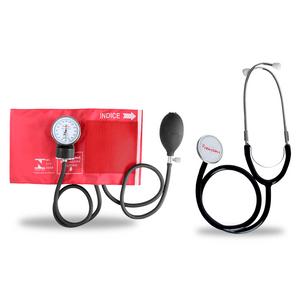 Kit-Esteto-Duplo-com-Aparelho-de-Pressao-Vermelho-Premium