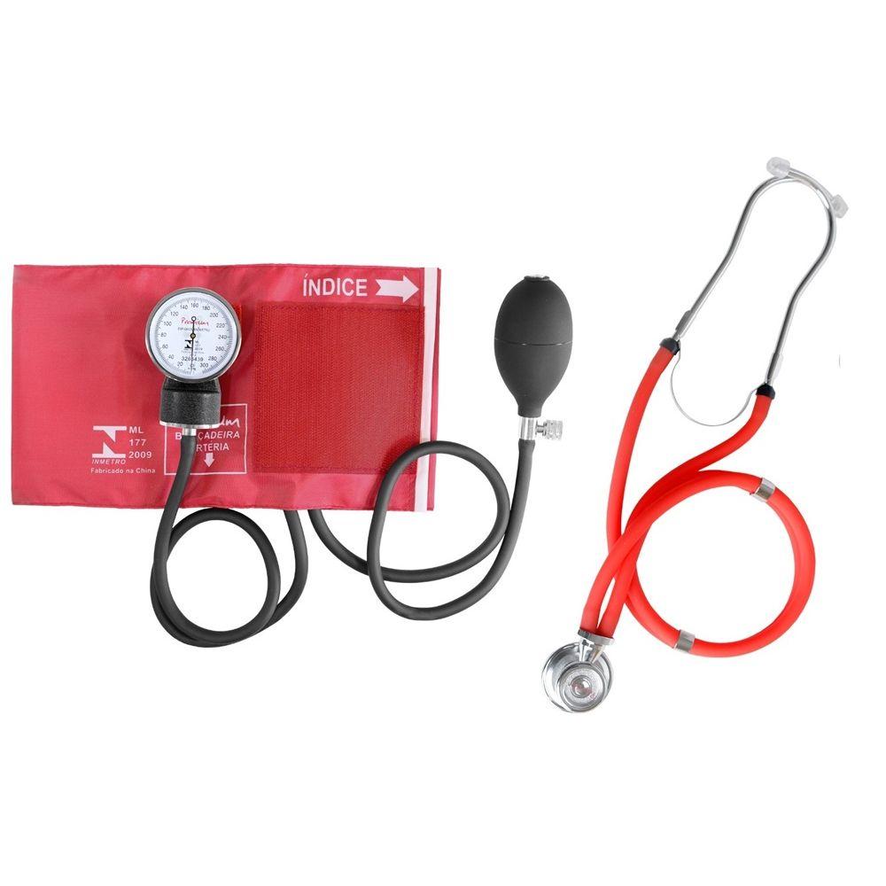 4e05b3d3f Kit Esteto Rappaport com Aparelho de Pressão Vermelho Premium ...
