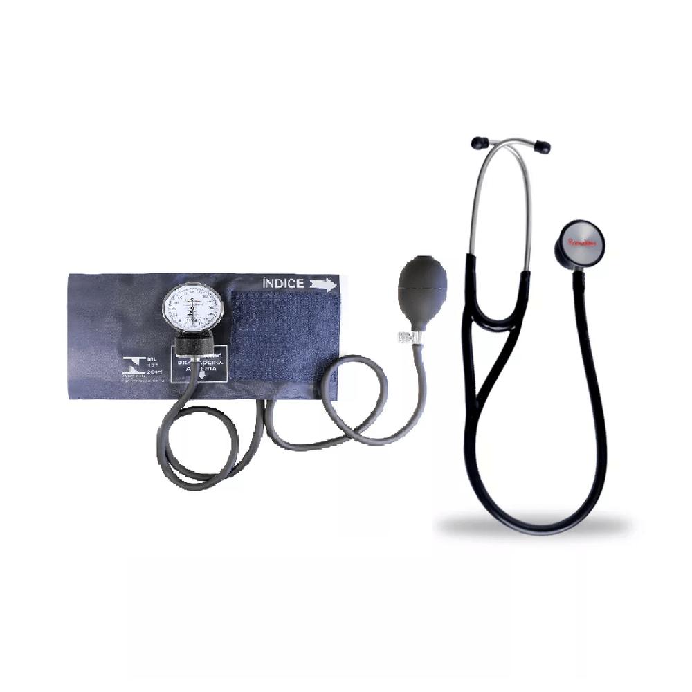 e50542657dc48 Kit Esteto Cardiológico Preto com Aparelho de Pressão Azul Premium ...