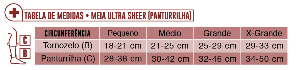 Tabela de Medidas Meia Panturrilha Ultrasheer Jobst