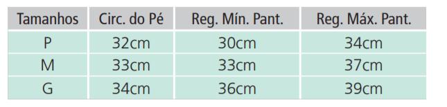 Tabela de Medidas Apoio Anti Equino Dilepe